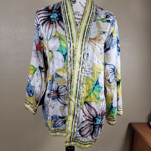 Chicos Sz 2 1X Floral Light weight jacket sweater